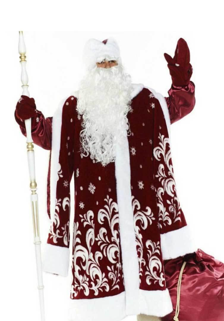 Дед Мороз с посохом и мешком для подарков.